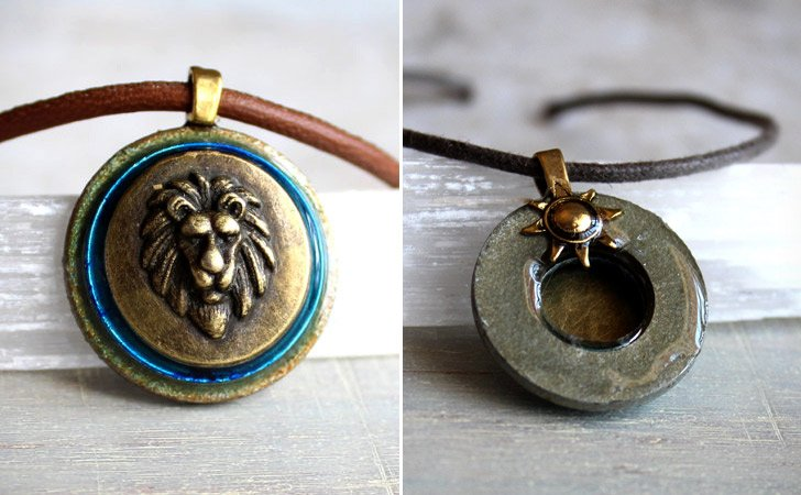 Sky Blue Brass Lion Necklace