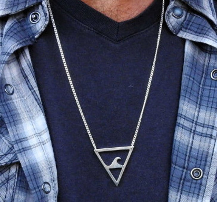 Sterling Silver Geometric Surfer Necklace