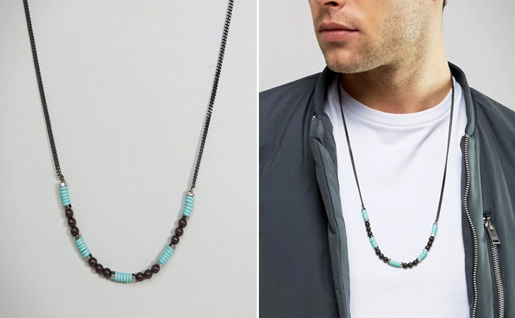 Turquoise Bead & Chain Necklace - cool necklaces for guys