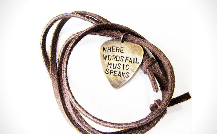 Where Words Fail Music Speaks Metal Guitar Pick Necklace