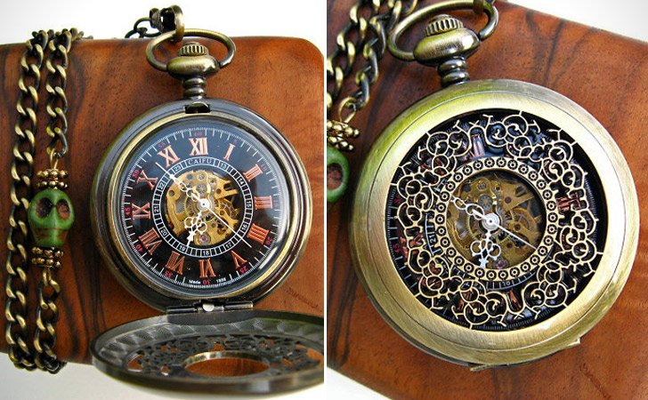 Airship Pirate Filigree Engraved Antique Bronze Pocket Watch With Chain