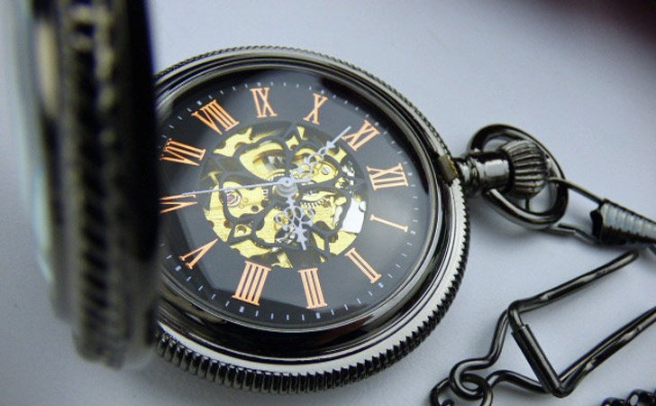 Antique Black With Magnifying Cover Pocket Watch