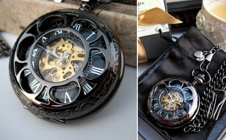 Black & Gold With White Hand Mechanical Pocket Watch