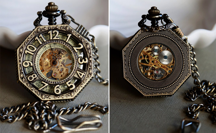 Brass Octagonal Steampunk Pocket Watch