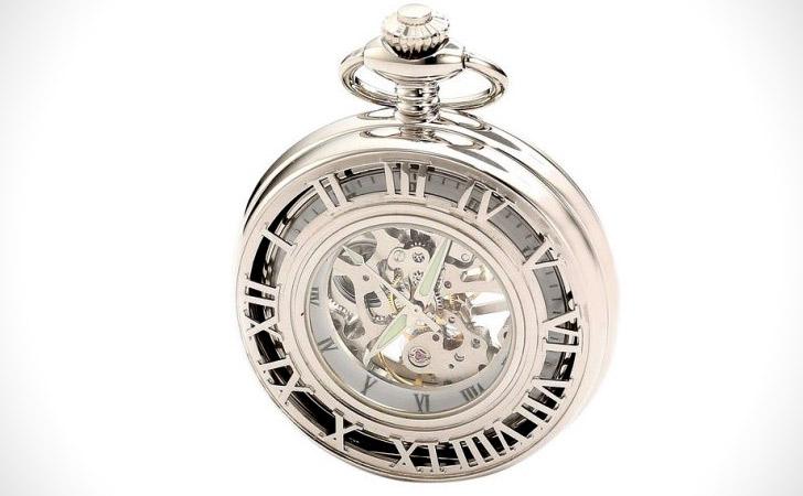 Charles Hubert Paris 3928 Chrome Finish Mechanical Pocket Watch