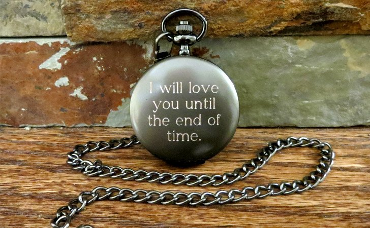 Custom Quote Engraved Gun Metal Pocket Watch