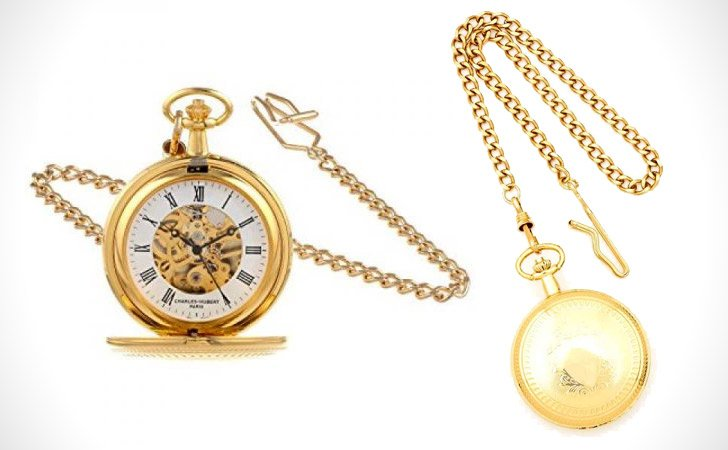 Gold Plated Charles Hubert Mechanical Double Cover Pocket Watch