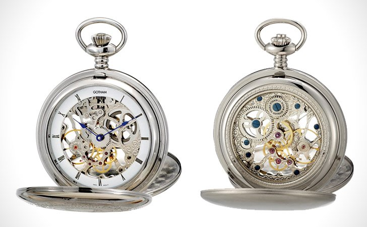 Gotham Mens Silver-Tone Packet Watch - Pocket Watches For Men