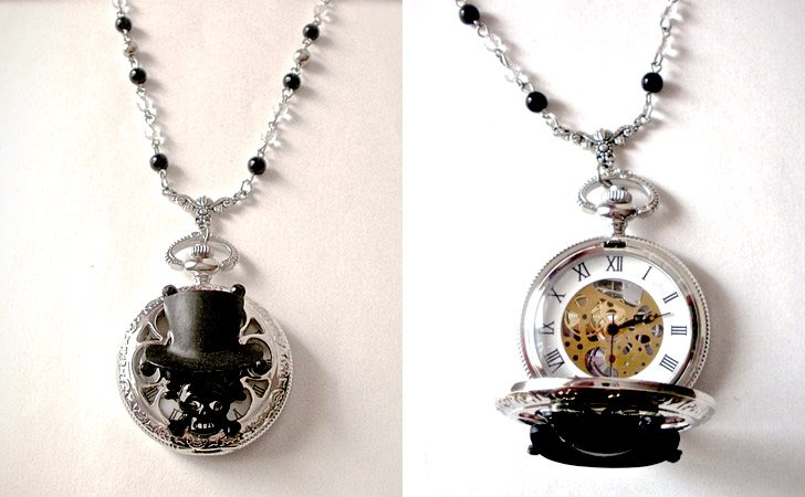 Gothic Style Skull Pocket Watch