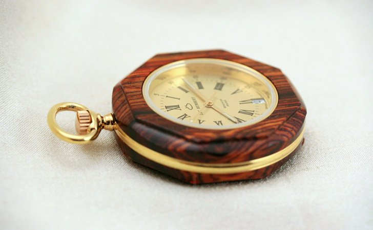 Handmade Wooden Pocket Watch With Swiss Quartz Movement