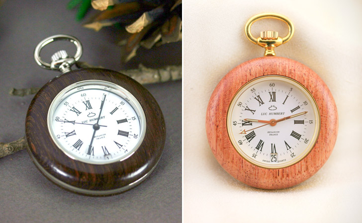 Hubert Creations Handmade Wood With Swiss Made Movement Pocket Watches
