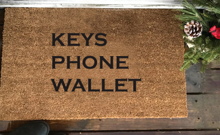 Keys Phone Wallet Reminder Doormat