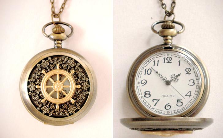Nautical Ship Wheel Pocket Watch
