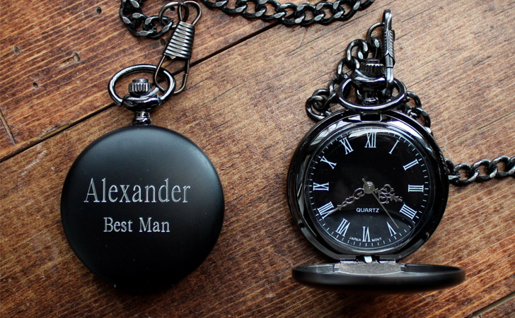 Personalised Black Groomsmen Pocket Watches