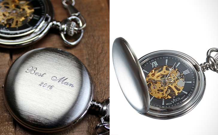 Personalised Brushed Chrome With Black And Gold Face Pocket Watch