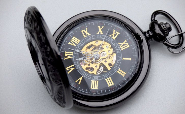 Premium Black & Gold Engraved 17 Jewel Mechanical Pocket Watch - Pocket Watches For Men