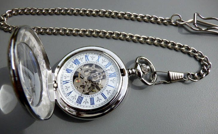 Premium Victorian Silver And Blue Mechanical Pocket Watch