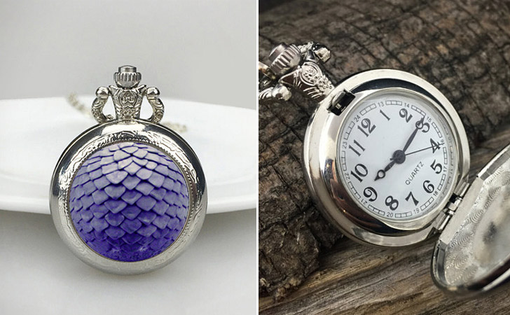 Purple Dragon Scale Pocket Watch