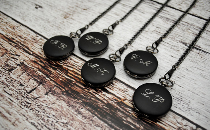 Set Of 5 Black Engraved Groomsmen Pocket Watches - Pocket Watches For Men