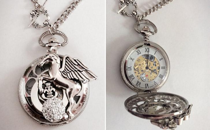 Silver Pegasus Pocket Watch