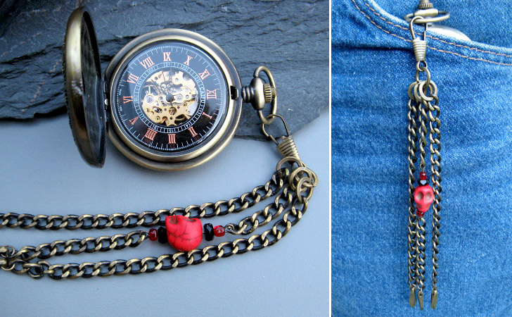 Sky Pirate Bronze & Wood With Skull Fob Chain