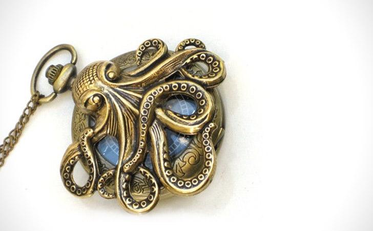 Steampunk Brass Octopus Pocket Watch