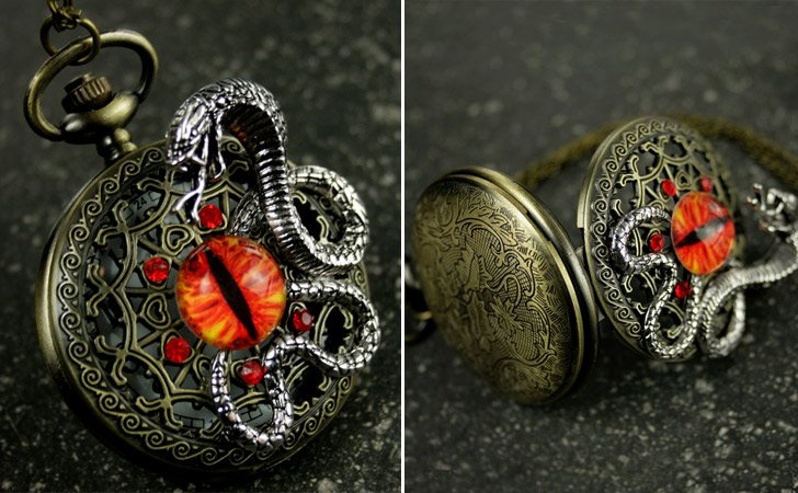 Steampunk Inspired Dragon Eye Pocket Watch