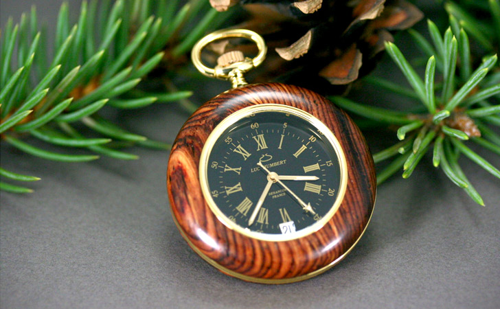 Stunning Handmade Classical South American Wood With Swiss Movement Pocket Watch - Pocket Watches For Men