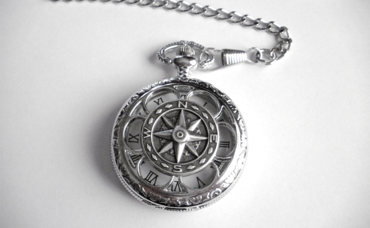 True North Silver Pocket Watch With Chain - Pocket Watches For Men