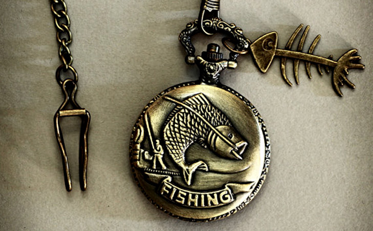 Vintage Inspired Bronze Fishing Pocket Watch - Pocket Watches For Men