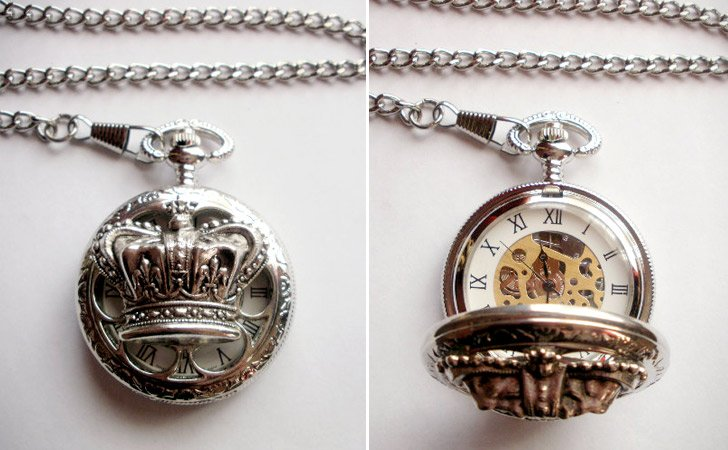 Vintage Men's Silver Royal Crown Pocket Watch