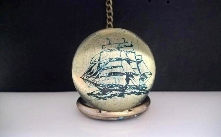 Vintage Sailing Boat Scene Pocket Watch