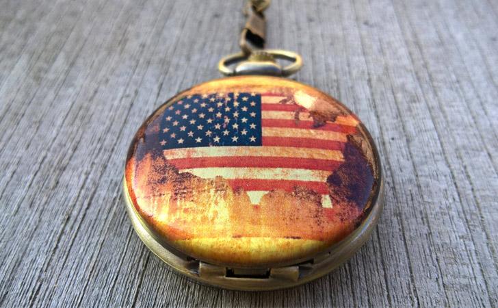 Vintage Style Americas Flag Pocket Watch