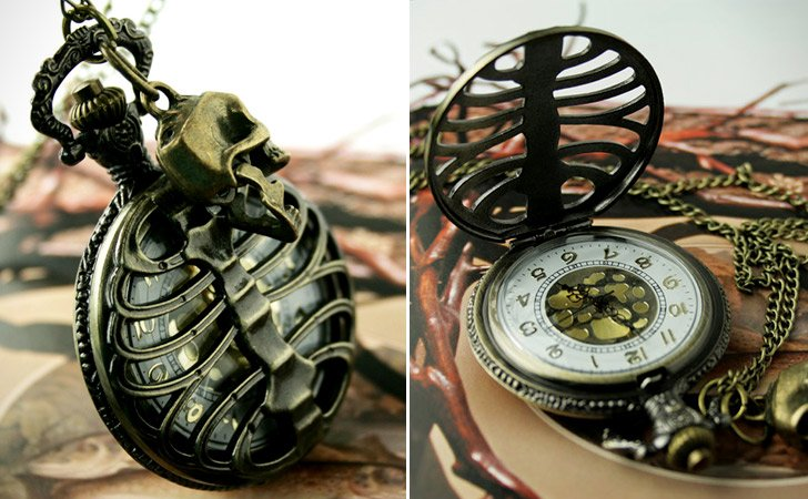 Vintage Style Movable Pirate Rib Bone Pocket Watch - Pocket Watches For Men