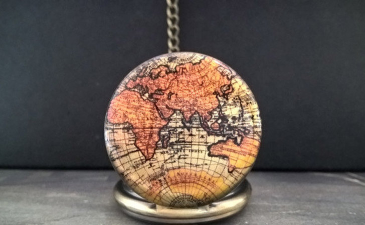 Vintage World Map Style Pocket Watch
