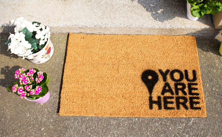 You Are Here Map Pin Doormat