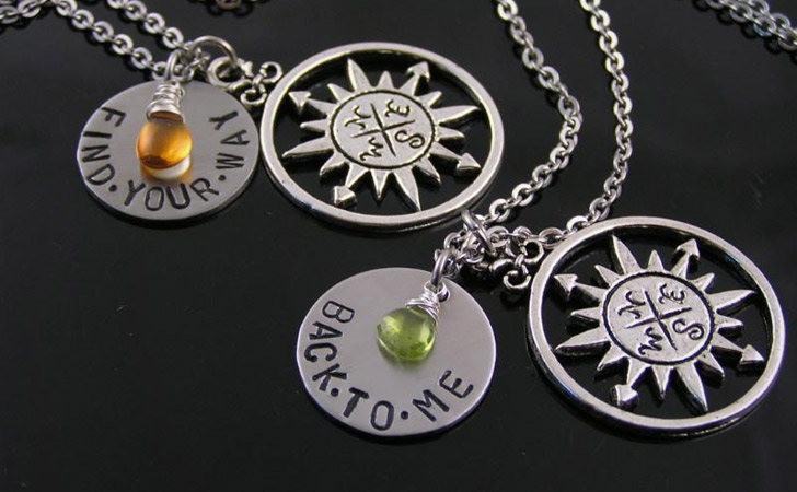 Compass + Birthstone Couples Necklace Sets