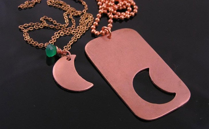 Matching Necklaces For Couples - Copper Dog Tag And Cresent Moon Insert Couples Necklace Set