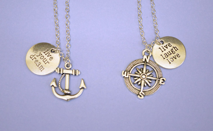 Couples Compass And Anchor Necklace Set