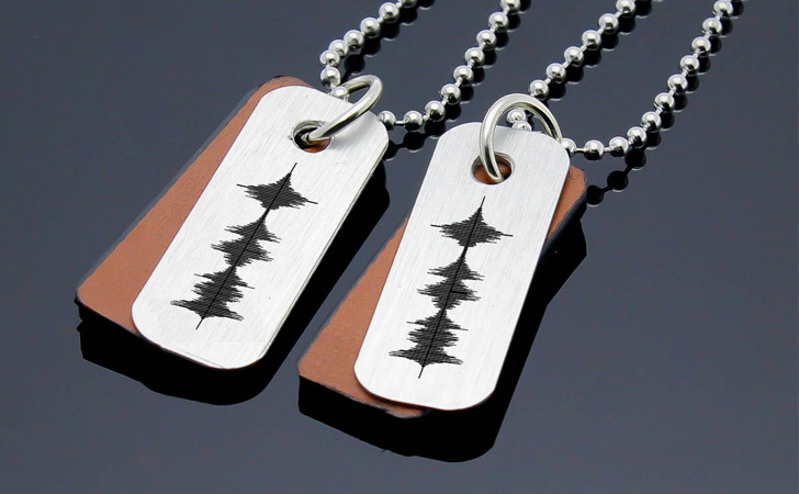 Couples Personalised Sound Wave Necklaces - Matching Necklaces For Couples