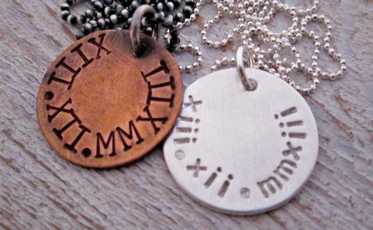 Couples Roman Numerals Pendants
