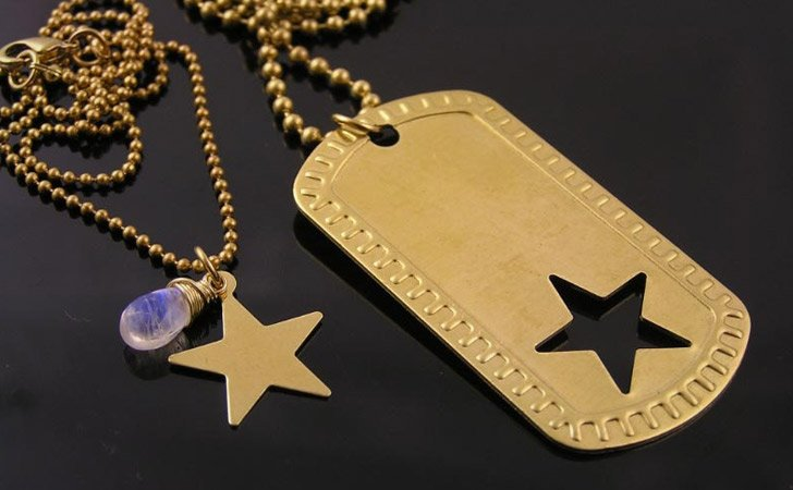Couples Star Insert Dog Tag Necklace Set