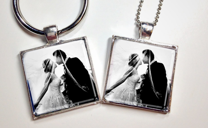 Custom His And Hers Photo Insert Pendants - Matching Necklaces For Couples