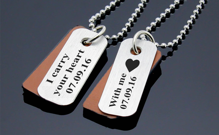 Custom Made Matching Dog Tag Style Pendants - Matching Necklaces For Couples