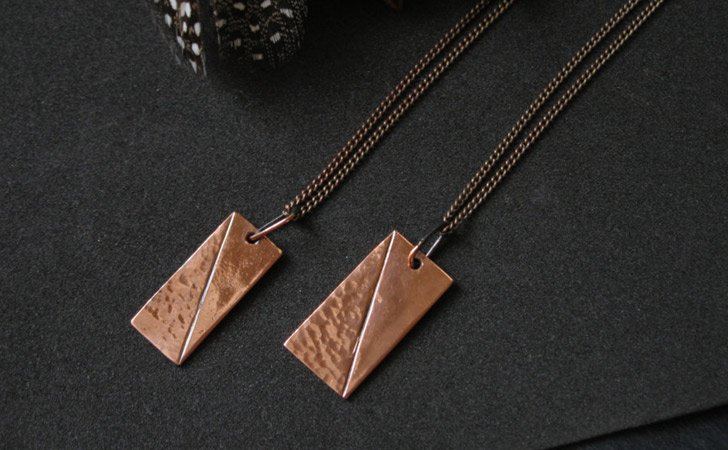 Custom Made Vintage Copper Design Couples Necklaces - Matching Necklaces For Couples