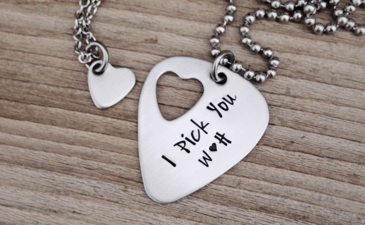 Matching Necklaces For Couples - Hand Stamped Guitar Pick With Heart Insert Necklace Set