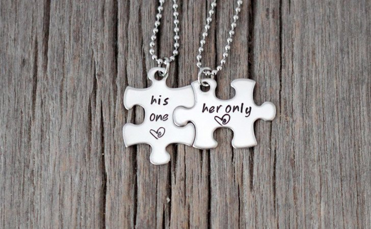 "Hand Stamped ""His One Her Only"" Puzzle Necklace Set"