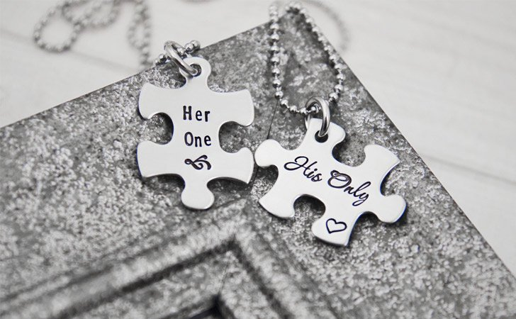 Matching Necklaces For Couples - Her One His Only Jigsaw Puzzle Piece Couples Necklace Set