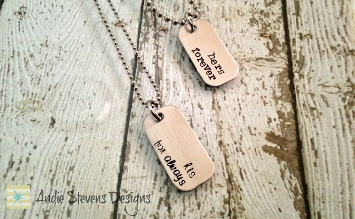 Hers Forever His For Always Mini Dog Tag Necklace Set - Matching Necklaces For Couples