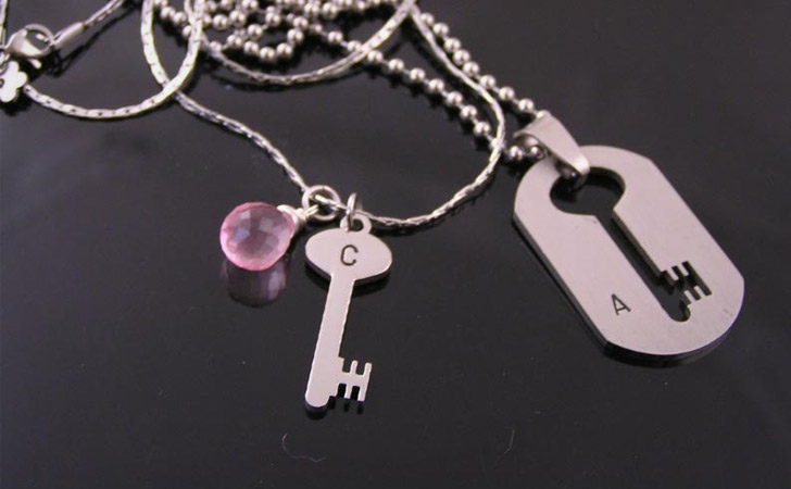 His And Hers Lock & Dog Tag Key Insert Necklace Set